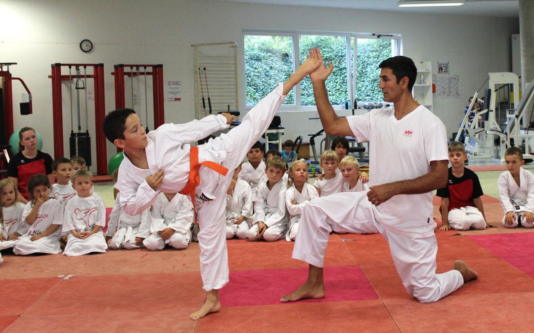 Trainer mit Schüler bei der Übung einer Kampfsort